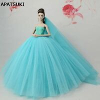 Blue Green Doll Dresses Evening Gown Clothes Wedding Dress For Barbie Doll +Veil