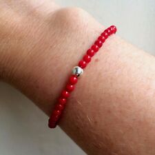DESIGNER RED CORAL STRETCH BRACELET STERLING SILVER SMALL CHAKRA BEAD JEWELRY