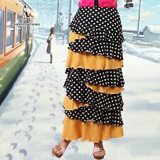 SHARON TANG Modest Apparel Long Knit Black Yellow Polka Dot Ruffle Layer Skirt M
