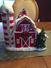 Blue Sky Clayworks Christmas Ceramic New Barn Cookie Jar Holiday Farm