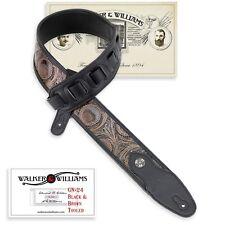 Walker & Williams GN-24 Black & Brown Tooled PaddedStrap Glove Leather Back
