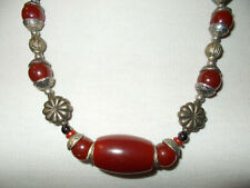 Vintage Moroccan necklace with metal and resin beads good condition