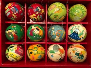 Crate Barrel 12 Days of Christmas Ornament Replacement Hand Painted Paper Mache