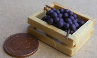 1:12 Scale Crate Of 6 Black Grapes Bunches Dolls House Miniature Fruit Accessory