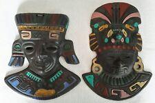 2 x King & Queen Maya Azteca mexicano Pintado Tribal Máscara Colgante De Pared