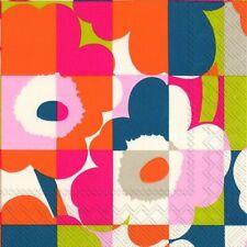 Marimekko MINI-RUUTU-UNIKKO orange  paper lunch napkins new 20 in pack 33 cm sq