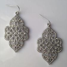 """Silver Joyce Chandelier Stunning Filigree Statement Earrings 2"""" Drop Length"""
