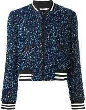 Alice + Olivia Lonnie Sequin Bomber Jacket Black Blue Size XS NWOT