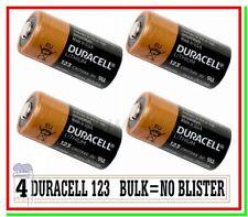"""4 DURACELL 123 CR 17345 Batteria Pila Litio Softair Drone Allarme Sensore """"BULK"""""""