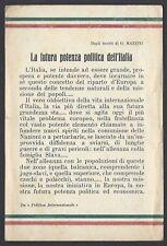 """VOLANTINO Mazzini: """"La Futura Potenza Politica dell'Italia"""" NUOVO (F4)"""