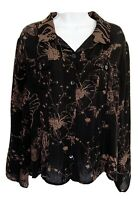 CHICOS 3 Womens 100% Silk Blouse Top Button Front Semi-Sheer Floral Black XL