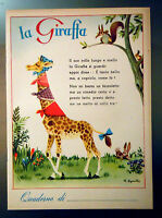 QUADERNO LA GIRAFFA Illustratore Roberto Sgrilli  - Anni 50 - Nuovo