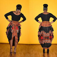 Fashion Women's Retro African Print Bubble Skirt Casual Straight Cocktail Dress