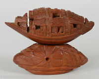 Antique Chinese Olive Nut Carved Boat With Micro Engraved Poem Qing Dynasty