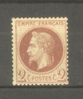 "FRANCE STAMP TIMBRE N° 26a "" NAPOLEON III 2c ROUGE-BRUN FONCE "" NEUF xx TB"