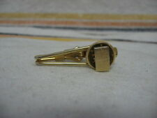 Vintage Gold Tone HIDDEN RUBY RED GEM TEXTURED RECTANGLE DESIGN Tie Clip Clasp ~