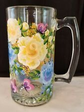 Yellow and Blue Roses Butterflies Hand Painted Large Beer Mug Bar Glass