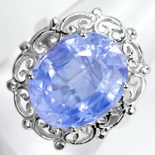 OVAL 14 X 12 mm. VIOLETISH BLUE SAPPHIRE 9.4 ct. STERLING 925 SILVER RING SZ 6.0