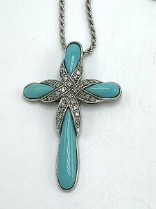 Sleeping Beauty Sterling Silver Diamond Cross Necklace