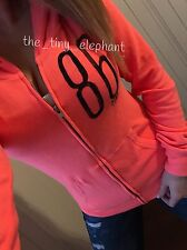 Victoria Secret Pink Love Pink 86 Neon Coral VS Knit Full Zip Jacket VS Hoodie S