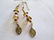 Vintage Long Pierced Earrings Religious Mary Medallion Golden Glass Beads