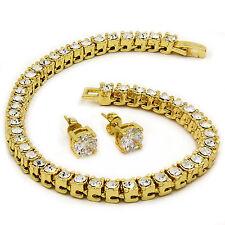 Men S 14k Gold Plated Iced Out 8 5 1 Row Fully Cz Hip Hop Bracelet