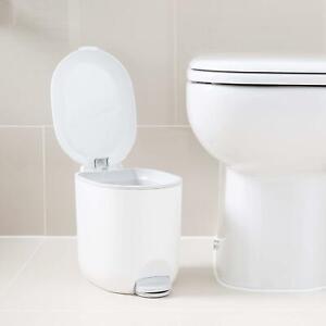 Addis White 3.5 Litre Small Pedal Bin Bathroom Kitchen Toilet Waste Rubbish