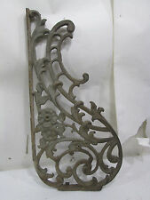 Large Vintage Cast Iron Decorative Wall Bracket Scrolling Flower Pattern