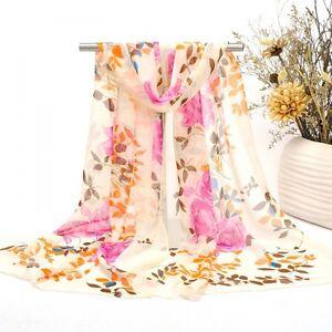 Scattered Rose Print Lady Women Shawl Wrap Chiffon Scarf (F4-01)
