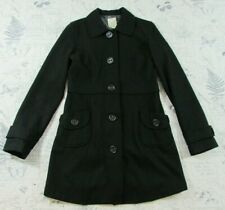 Tulle Anthropologie Black Wool Button Front Trench Coat Long Size L LARGE