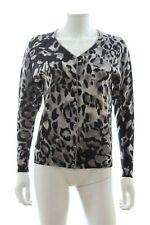 Escada Wool-Blend Leopard Print Cardigan / Grey