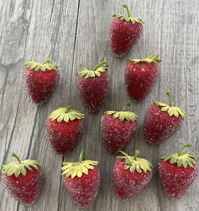"""Lot of 11 Sugared Beaded Frosted Artificial Faux Fruit Red Strawberries 2"""""""