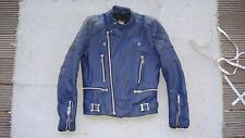 vintage BOBO blue biker leather jacket motorcycle silver zips size XS-S 36