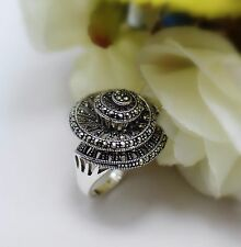 Vintage Style Fashion Jewelry 925 Sterling Silver Marcasite Ring