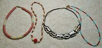 VINTAGE TO NOW ASSORTED SHELL LUCITE & GLASS BEADED BOHO TRIBAL NECKLACE LOT