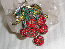 New JOAN RIVERS  Exquisite Charcol Setting, Green, Red Crystal CHERRY Pin Brooch