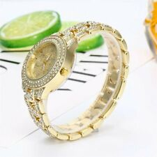 Fashion Women Ladies PU Leather Rhinestone Analog Quartz Wrist Watches Bracelet