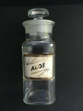 APOTHECARY BOTTLE LABEL UNDER GLASS ** ALOE **