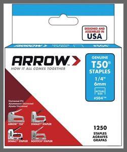 """504 T50 Staples - 1/4"""" (6mm) - Steel - 1250/Pack Arrow Fastener"""