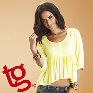 Thomas Gee Women's Lemon Crop Summer Sun Top Blouse * Sizes 14 or 16