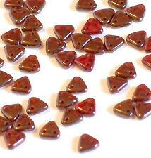 CzechMates 2-Hole Triangle Beads, 6mm, 100 pc, 10g,Ruby Silversheen Red