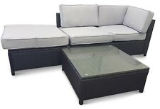 Maldive 4p 3 Seater Outdoor Sofa - Black with Light Grey Cushions - CLEARANCE