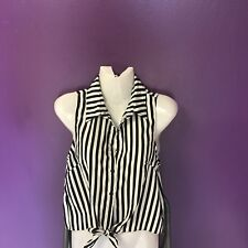Sparkle And Fade UrbanBlack And White Stripe Mid Drift Top Small