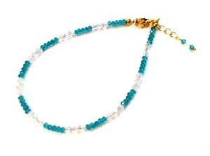 Fancy Gold Plated Blue Topaz Quartz & Crystal Ankle Bracelet Anklet F90