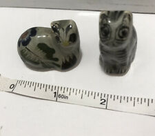Vtg Pair Cat Kitten Mexican Tonala Pottery Hand Painted Figurines Small Kitty