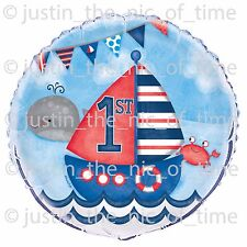 "1st First Birthday Boys Nautical Party Decorations Large 18"" FOIL BALLOON"