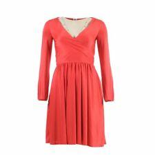 HALSTON HERITAGE Dress Poppy Red Pleated Tie Size XS GL 164