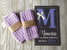 Crochet spa set face wash cloths memories wall hanging picture handmade new