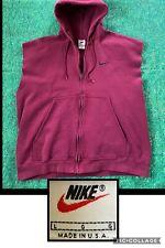 Vintage Nike Sleeveless Hoodie Sweatshirt Vest Maroon Burgundy USA Made 90s Sz L