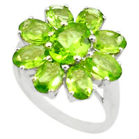 8.83cts Natural Green Peridot 925 Sterling Silver Ring Jewelry Size 5.5 P82976